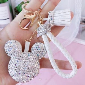 Crystal Mickey Mouse Keychain with Tassel & Cord